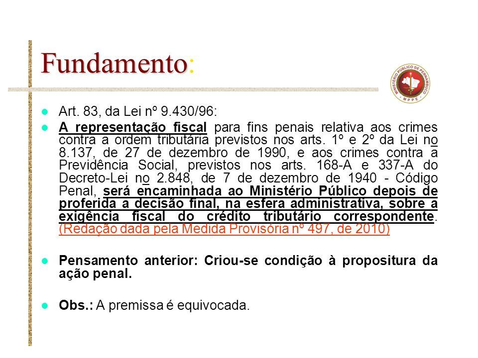 Fundamento Fundamento: Art. 83, da Lei nº 9.430/96: A representação fiscal para fins penais relativa aos crimes contra a ordem tributária previstos no