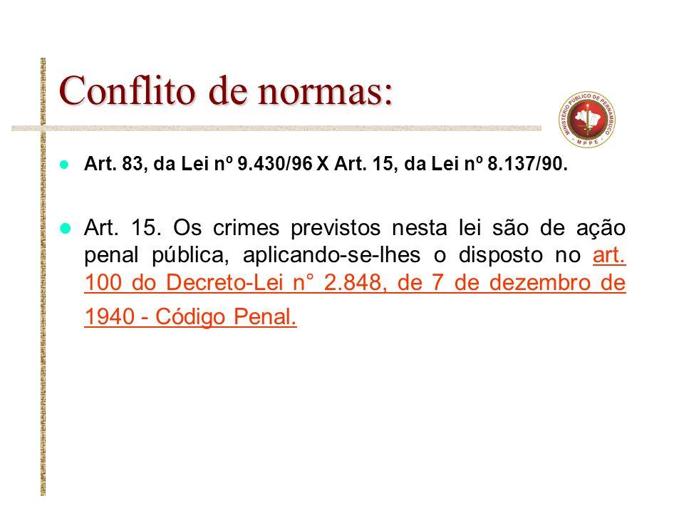 Conflito de normas: Art. 83, da Lei nº 9.430/96 X Art. 15, da Lei nº 8.137/90. Art. 15. Os crimes previstos nesta lei são de ação penal pública, aplic