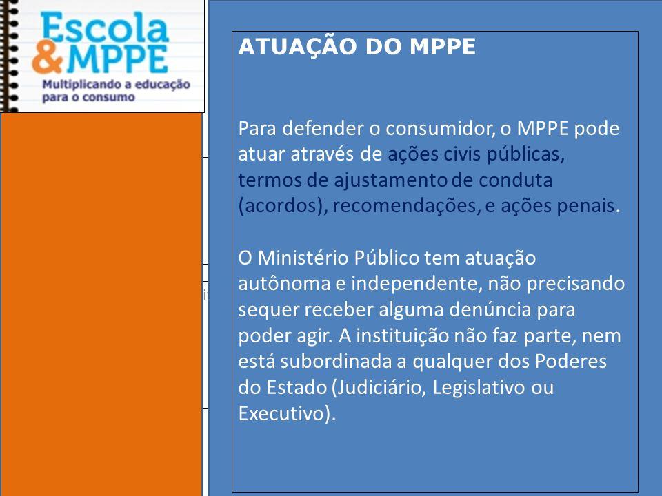 Clique para editar o estilo do subtítulo mestre 19/10/11 ATUAÇÃO DO MPPE Para defender o consumidor, o MPPE pode atuar através de ações civis públicas, termos de ajustamento de conduta (acordos), recomendações, e ações penais.