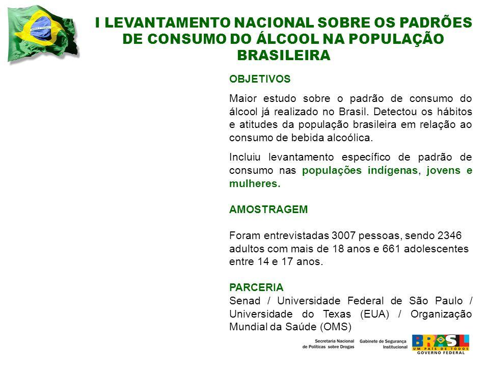 I LEVANTAMENTO NACIONAL SOBRE OS PADRÕES DE CONSUMO DO ÁLCOOL NA POPULAÇÃO BRASILEIRA OBJETIVOS Maior estudo sobre o padrão de consumo do álcool já realizado no Brasil.