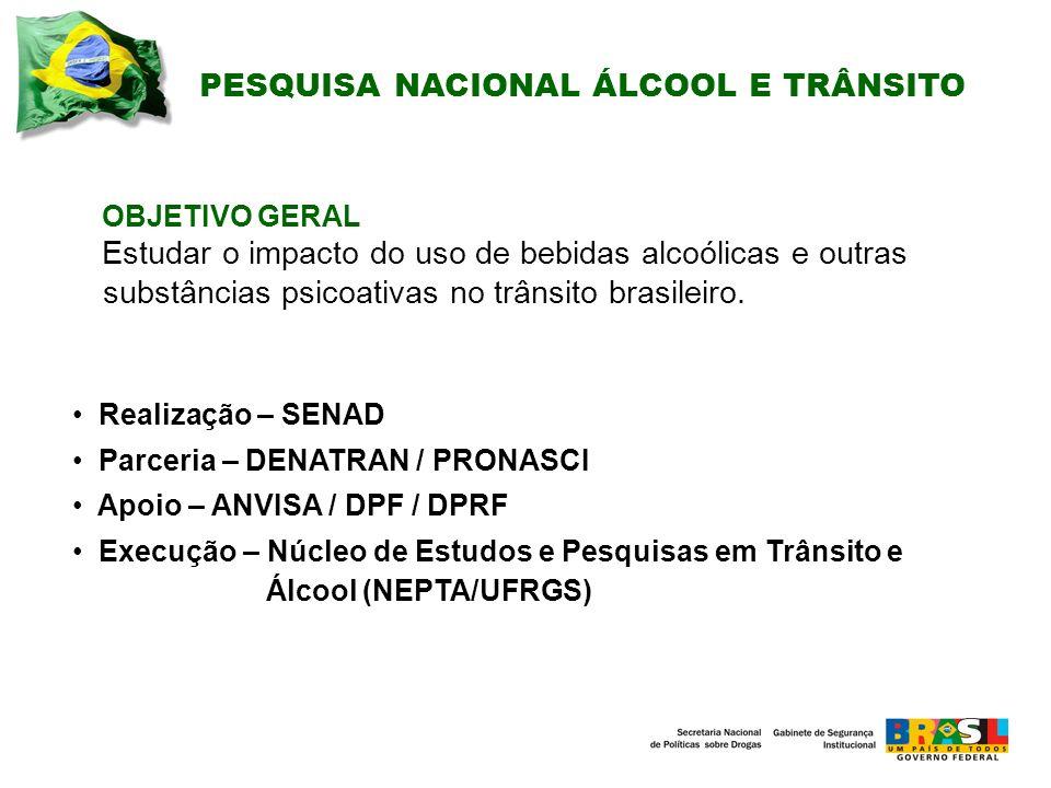 PESQUISA NACIONAL ÁLCOOL E TRÂNSITO OBJETIVO GERAL Estudar o impacto do uso de bebidas alcoólicas e outras substâncias psicoativas no trânsito brasileiro.