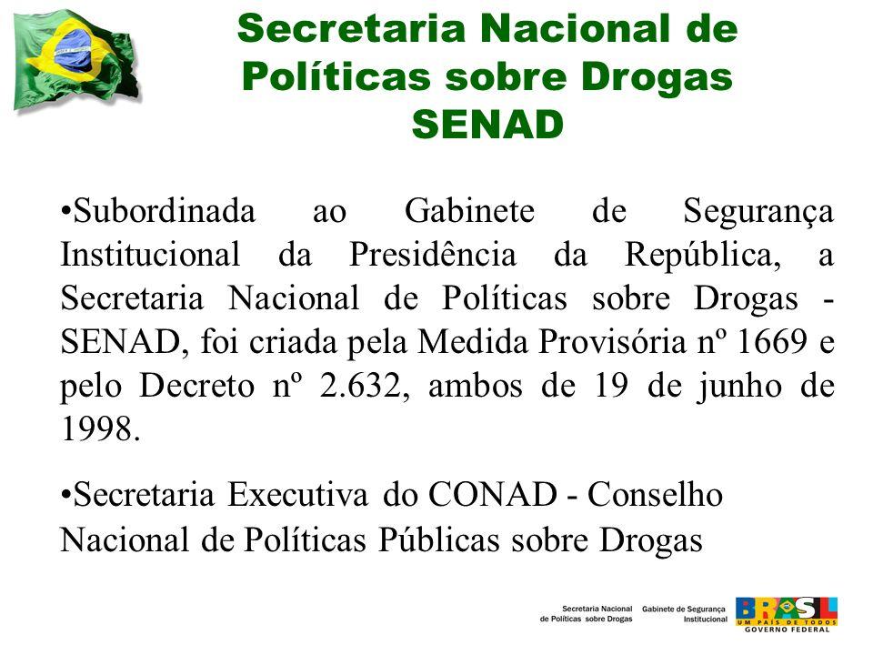 Secretaria Nacional de Políticas sobre Drogas SENAD Subordinada ao Gabinete de Segurança Institucional da Presidência da República, a Secretaria Nacional de Políticas sobre Drogas - SENAD, foi criada pela Medida Provisória nº 1669 e pelo Decreto nº 2.632, ambos de 19 de junho de 1998.
