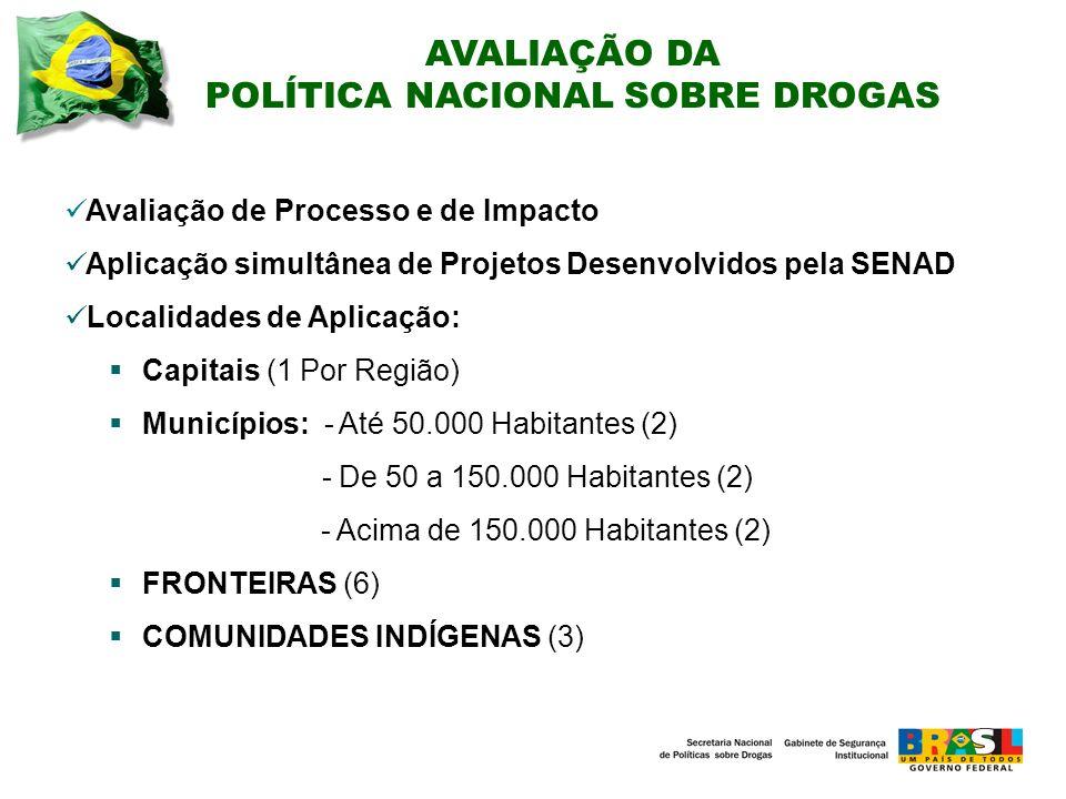 Avaliação de Processo e de Impacto Aplicação simultânea de Projetos Desenvolvidos pela SENAD Localidades de Aplicação: Capitais (1 Por Região) Municípios: - Até 50.000 Habitantes (2) - De 50 a 150.000 Habitantes (2) - Acima de 150.000 Habitantes (2) FRONTEIRAS (6) COMUNIDADES INDÍGENAS (3) AVALIAÇÃO DA POLÍTICA NACIONAL SOBRE DROGAS