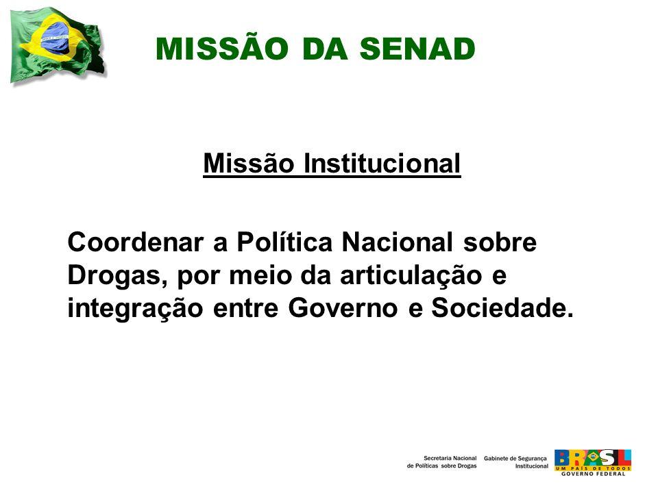 MISSÃO DA SENAD Missão Institucional Coordenar a Política Nacional sobre Drogas, por meio da articulação e integração entre Governo e Sociedade.