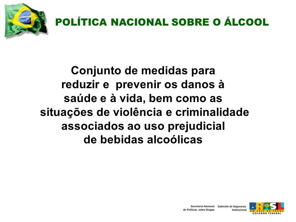 Conjunto de medidas para reduzir e prevenir os danos à saúde e à vida, bem como as situações de violência e criminalidade associados ao uso prejudicial de bebidas alcoólicas POLÍTICA NACIONAL SOBRE O ÁLCOOL