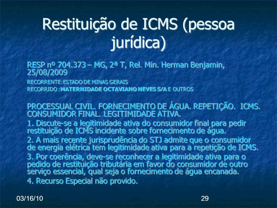03/16/1029 Restituição de ICMS (pessoa jurídica) RESP nº 704.373 – MG, 2ª T, Rel.