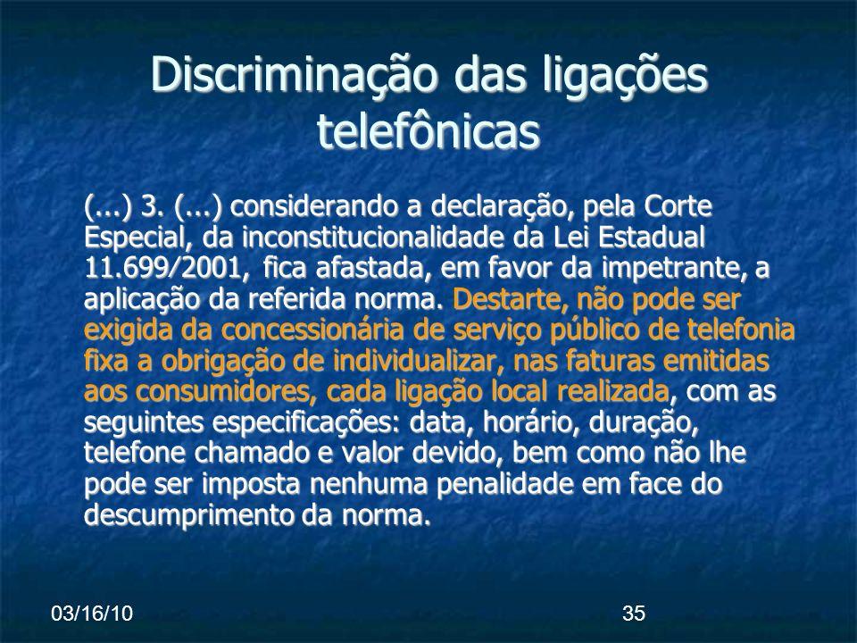 03/16/1035 Discriminação das ligações telefônicas (...) 3.