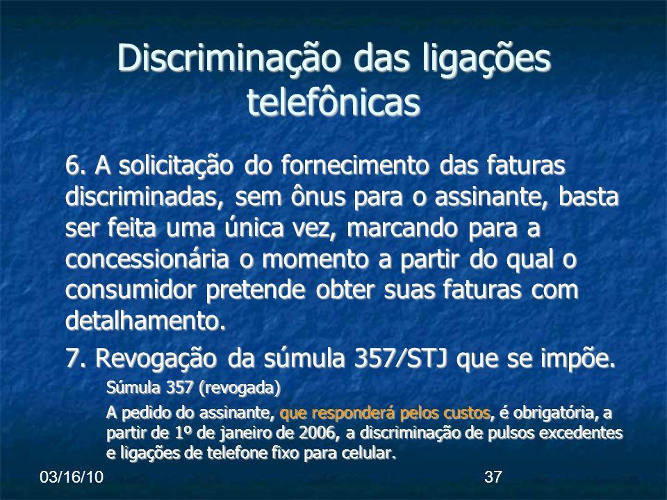 03/16/1037 Discriminação das ligações telefônicas 6.
