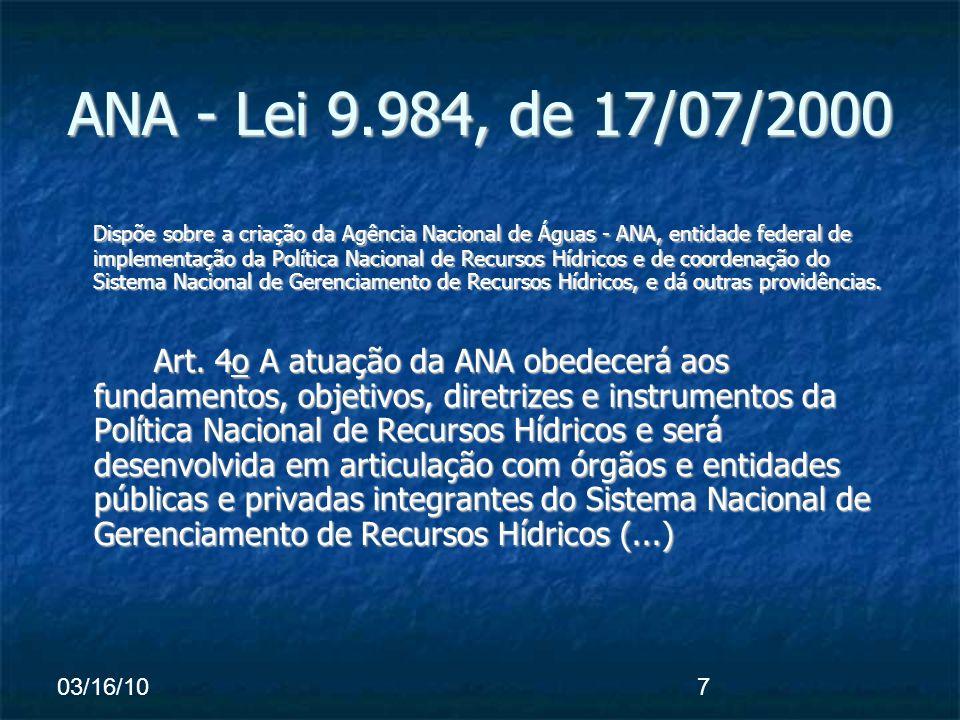 03/16/107 ANA - Lei 9.984, de 17/07/2000 Dispõe sobre a criação da Agência Nacional de Águas - ANA, entidade federal de implementação da Política Nacional de Recursos Hídricos e de coordenação do Sistema Nacional de Gerenciamento de Recursos Hídricos, e dá outras providências.