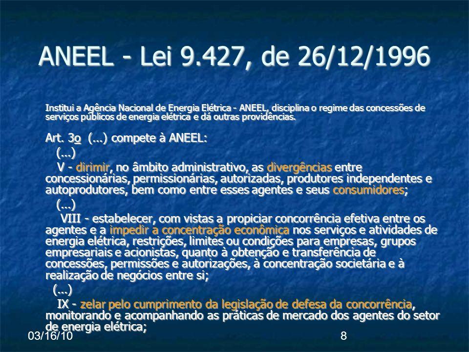 03/16/108 ANEEL - Lei 9.427, de 26/12/1996 Institui a Agência Nacional de Energia Elétrica - ANEEL, disciplina o regime das concessões de serviços públicos de energia elétrica e dá outras providências.