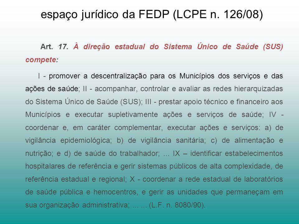 espaço jurídico da FEDP (LCPE n.126/08) Art. 17.