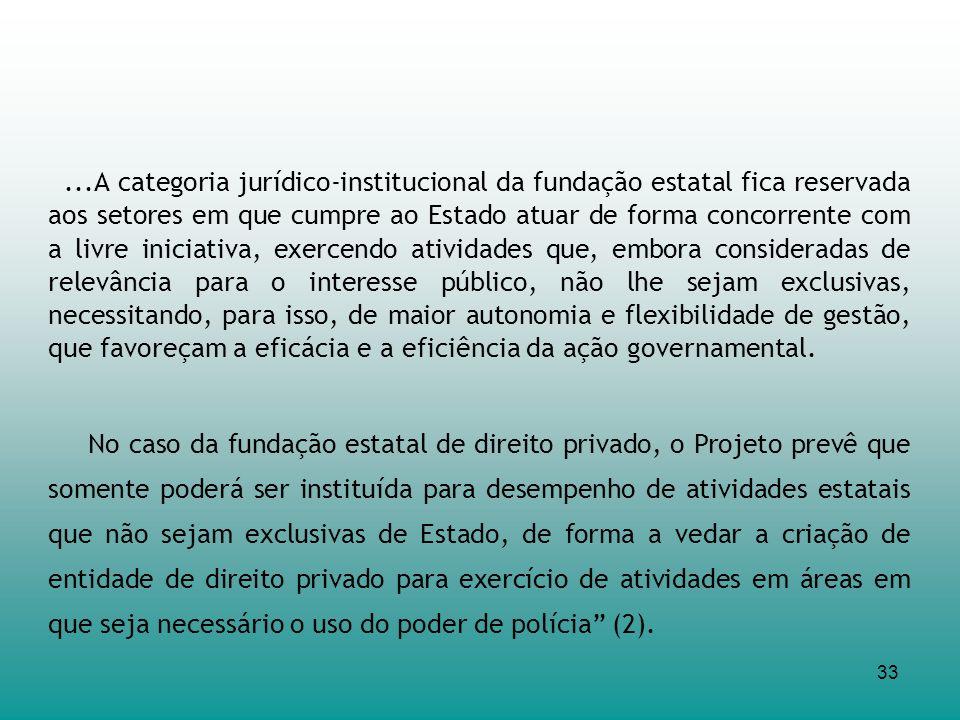 33...A categoria jurídico-institucional da fundação estatal fica reservada aos setores em que cumpre ao Estado atuar de forma concorrente com a livre