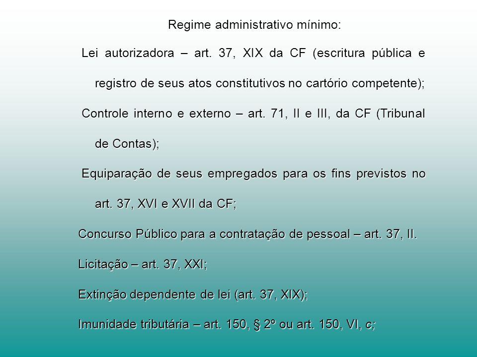 Regime administrativo mínimo: Regime administrativo mínimo: Lei autorizadora – art. 37, XIX da CF (escritura pública e registro de seus atos constitut