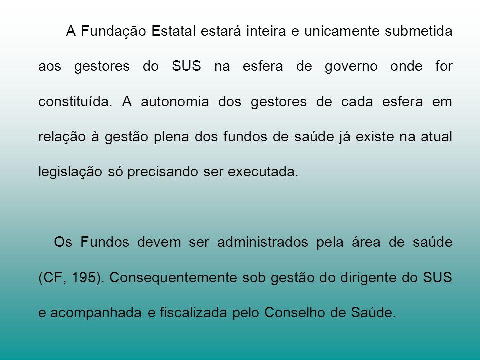A Fundação Estatal estará inteira e unicamente submetida aos gestores do SUS na esfera de governo onde for constituída. A autonomia dos gestores de ca