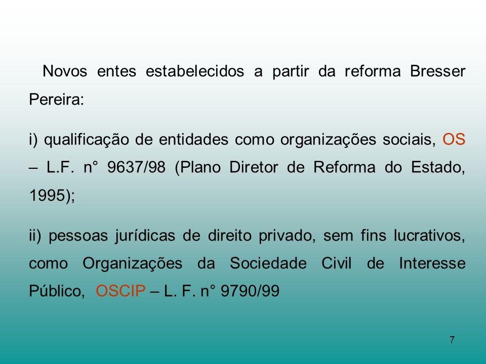 7 Novos entes estabelecidos a partir da reforma Bresser Pereira: i) qualificação de entidades como organizações sociais, OS – L.F. n° 9637/98 (Plano D