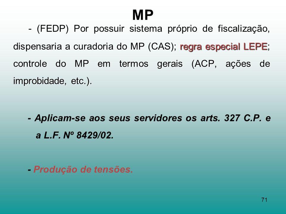 71 MP - (FEDP) Por possuir sistema próprio de fiscalização, dispensaria a curadoria do MP (CAS); regra especial LEPE; controle do MP em termos gerais (ACP, ações de improbidade, etc.).