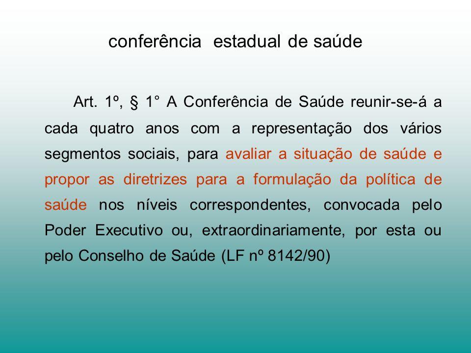 conferência estadual de saúde Art. 1º, § 1° A Conferência de Saúde reunir-se-á a cada quatro anos com a representação dos vários segmentos sociais, pa