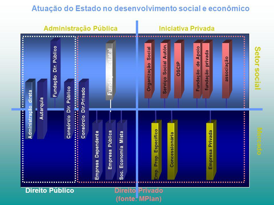 Atuação do Estado no desenvolvimento social e econômico Mercado Administração Pública Setor social Iniciativa Privada Empresa DependenteEmpresa PúblicaSoc.