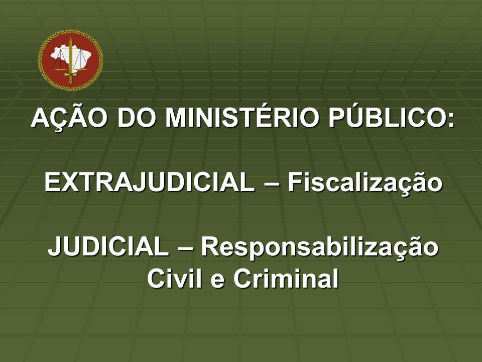 AÇÃO DO MINISTÉRIO PÚBLICO: EXTRAJUDICIAL – Fiscalização JUDICIAL – Responsabilização Civil e Criminal