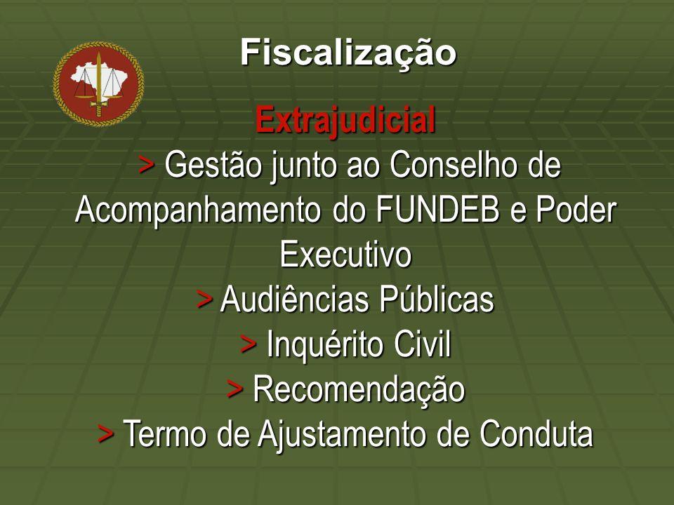 Fiscalização Extrajudicial > Gestão junto ao Conselho de Acompanhamento do FUNDEB e Poder Executivo > Audiências Públicas > Inquérito Civil > Recomendação > Termo de Ajustamento de Conduta