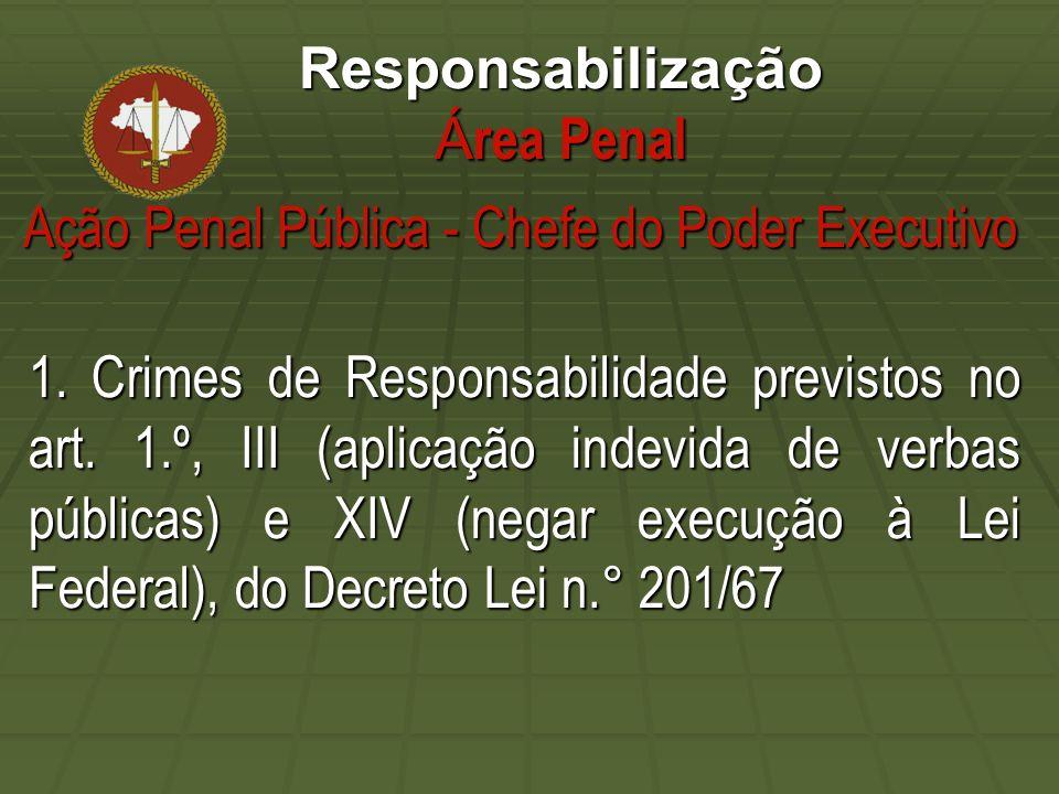 Responsabilização Á rea Penal 1. Crimes de Responsabilidade previstos no art.