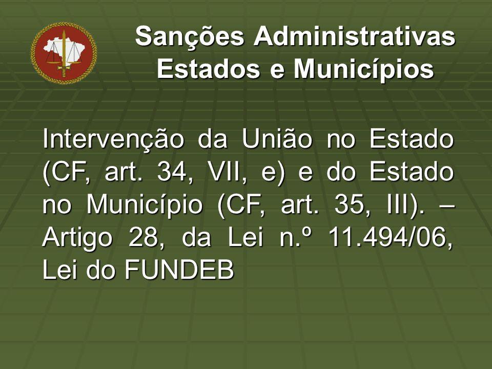 Intervenção da União no Estado (CF, art. 34, VII, e) e do Estado no Município (CF, art.