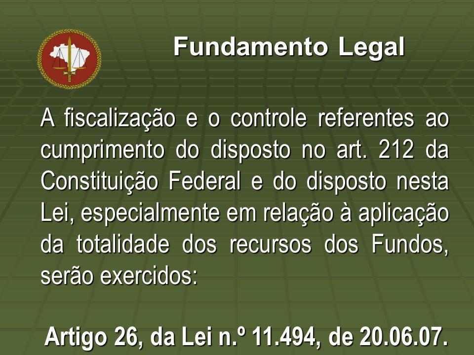 Fundamento Legal A fiscalização e o controle referentes ao cumprimento do disposto no art. 212 da Constituição Federal e do disposto nesta Lei, especi