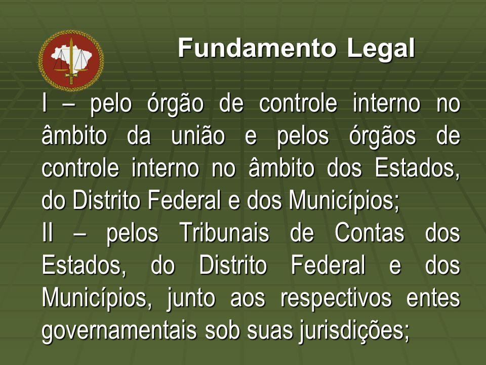 Fundamento Legal I – pelo órgão de controle interno no âmbito da união e pelos órgãos de controle interno no âmbito dos Estados, do Distrito Federal e dos Municípios; II – pelos Tribunais de Contas dos Estados, do Distrito Federal e dos Municípios, junto aos respectivos entes governamentais sob suas jurisdições;