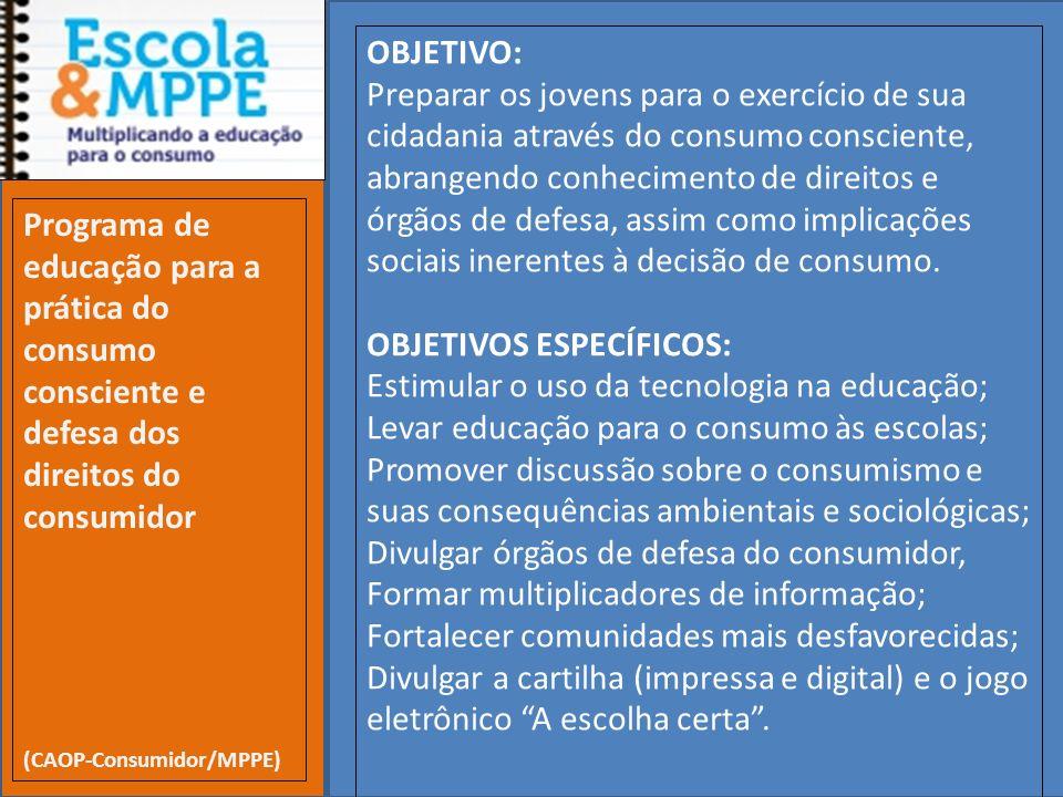 Clique para editar o estilo do subtítulo mestre 19/10/11 OBJETIVO: Preparar os jovens para o exercício de sua cidadania através do consumo consciente,