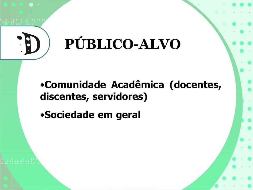 Comunidade Acadêmica (docentes, discentes, servidores) Sociedade em geral PÚBLICO-ALVO
