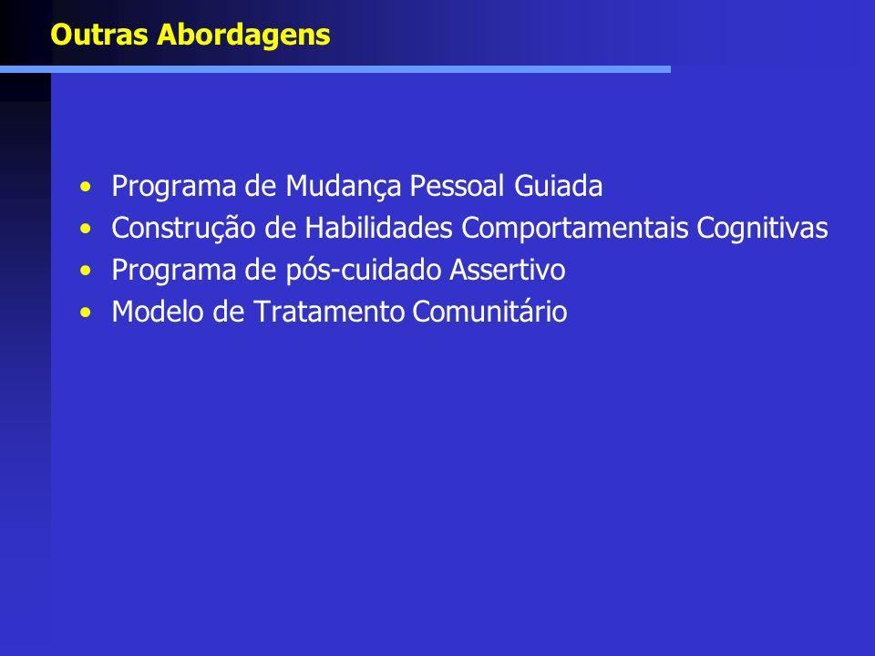 Outras Abordagens Programa de Mudança Pessoal Guiada Construção de Habilidades Comportamentais Cognitivas Programa de pós-cuidado Assertivo Modelo de