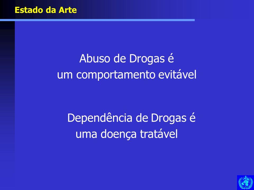 Abuso de Drogas é um comportamento evitável Dependência de Drogas é uma doença tratável Estado da Arte