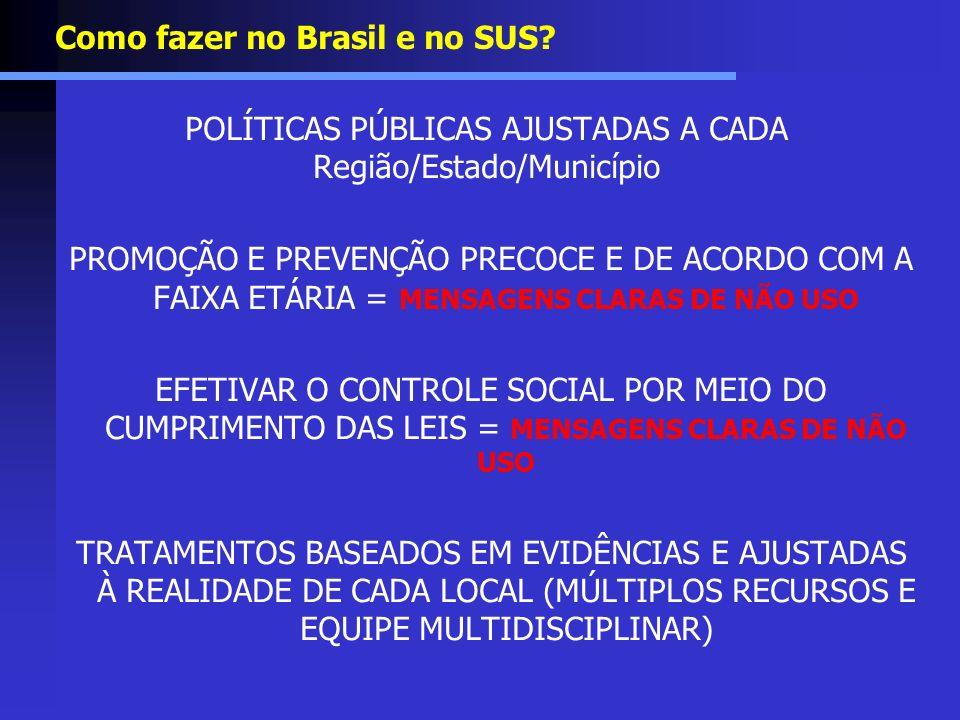 Como fazer no Brasil e no SUS? POLÍTICAS PÚBLICAS AJUSTADAS A CADA Região/Estado/Município PROMOÇÃO E PREVENÇÃO PRECOCE E DE ACORDO COM A FAIXA ETÁRIA