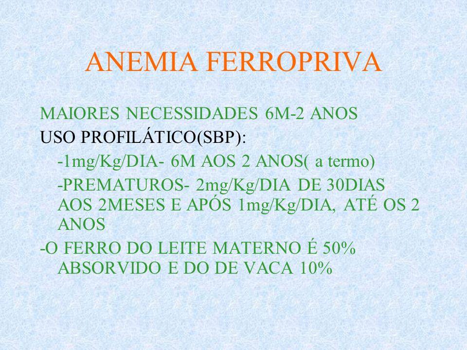 ANEMIA FERROPRIVA MAIORES NECESSIDADES 6M-2 ANOS USO PROFILÁTICO(SBP): -1mg/Kg/DIA- 6M AOS 2 ANOS( a termo) -PREMATUROS- 2mg/Kg/DIA DE 30DIAS AOS 2MES