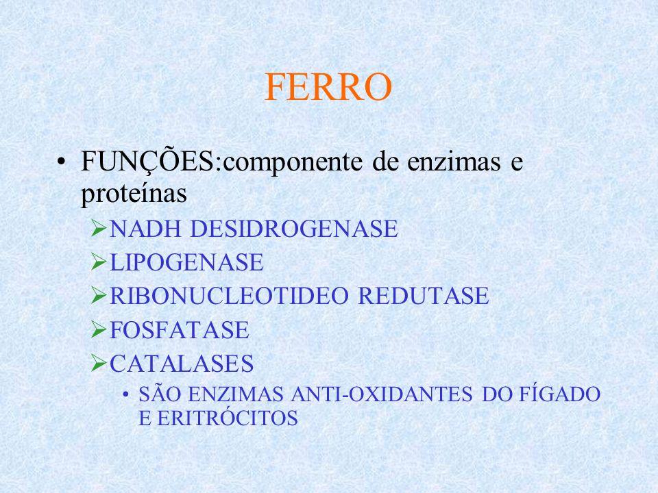 FERRO REAÇÃO DE FENTON: Fe+2 OU CU+ + H2O2= OH – INFECÇÕES= EXACERBA STRESS OXIDATIVO