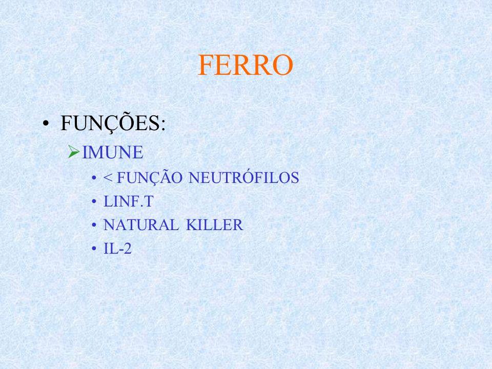 FERRO FUNÇÕES: IMUNE < FUNÇÃO NEUTRÓFILOS LINF.T NATURAL KILLER IL-2