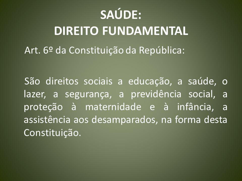 SAÚDE: DIREITO FUNDAMENTAL Art. 6º da Constituição da República: São direitos sociais a educação, a saúde, o lazer, a segurança, a previdência social,