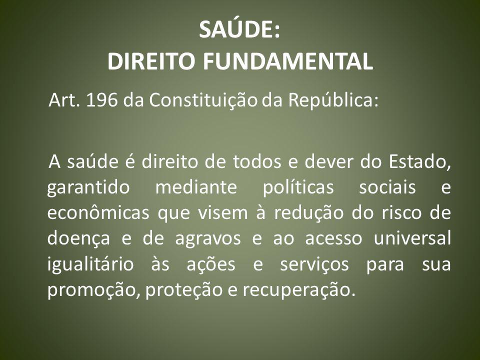 SAÚDE: DIREITO FUNDAMENTAL Art. 196 da Constituição da República: A saúde é direito de todos e dever do Estado, garantido mediante políticas sociais e