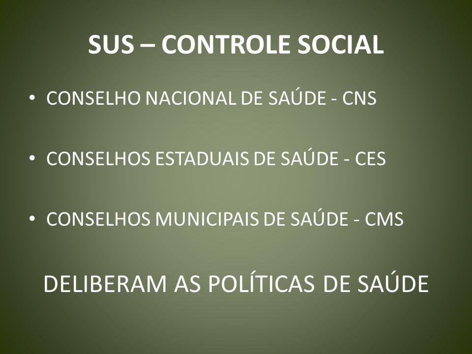 SUS – CONTROLE SOCIAL CONSELHO NACIONAL DE SAÚDE - CNS CONSELHOS ESTADUAIS DE SAÚDE - CES CONSELHOS MUNICIPAIS DE SAÚDE - CMS DELIBERAM AS POLÍTICAS D
