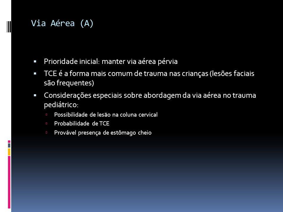 Via Aérea (A) Prioridade inicial: manter via aérea pérvia TCE é a forma mais comum de trauma nas crianças (lesões faciais são frequentes) Consideraçõe