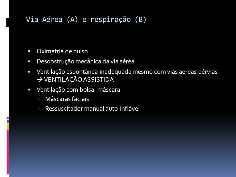 Via Aérea (A) e respiração (B) Oximetria de pulso Desobstrução mecânica da via aérea Ventilação espontânea inadequada mesmo com vias aéreas pérvias VE