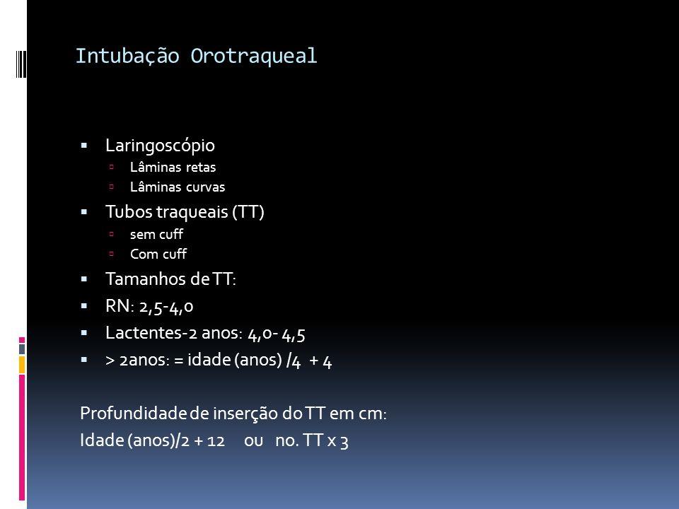 Intubação Orotraqueal Laringoscópio Lâminas retas Lâminas curvas Tubos traqueais (TT) sem cuff Com cuff Tamanhos de TT: RN: 2,5-4,0 Lactentes-2 anos: