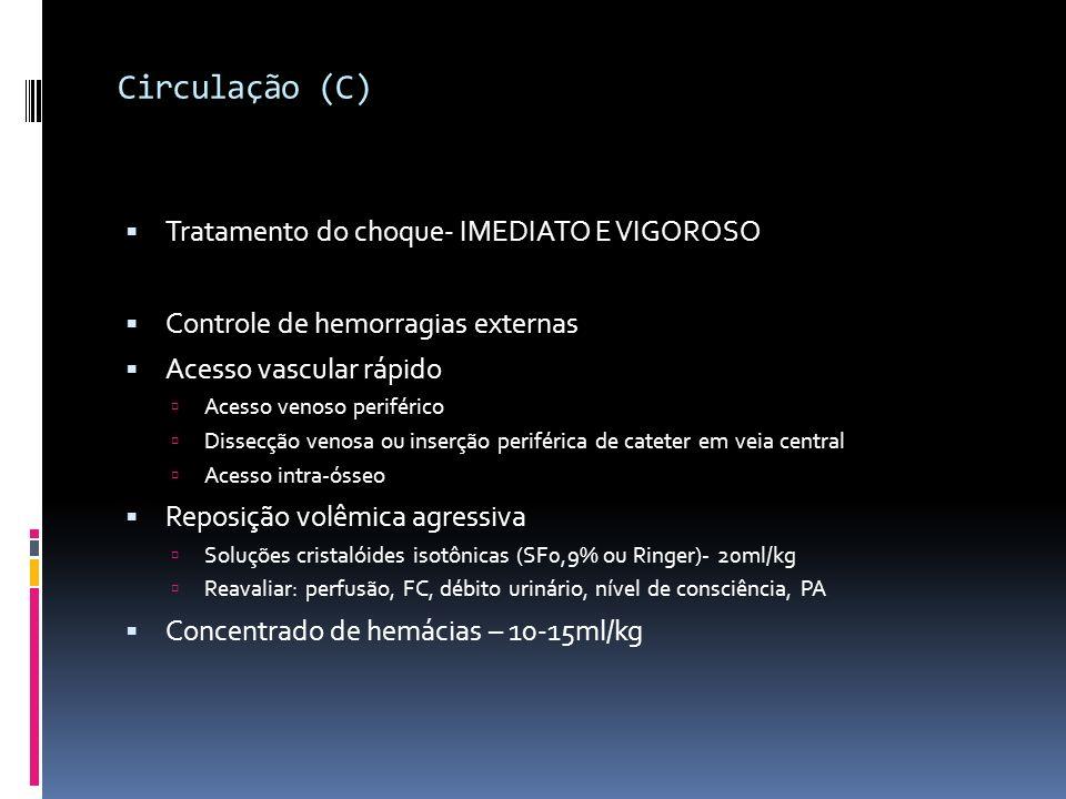 Circulação (C) Tratamento do choque- IMEDIATO E VIGOROSO Controle de hemorragias externas Acesso vascular rápido Acesso venoso periférico Dissecção ve