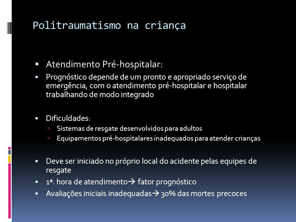 Politraumatismo na criança Atendimento Pré-hospitalar: Prognóstico depende de um pronto e apropriado serviço de emergência, com o atendimento pré-hosp