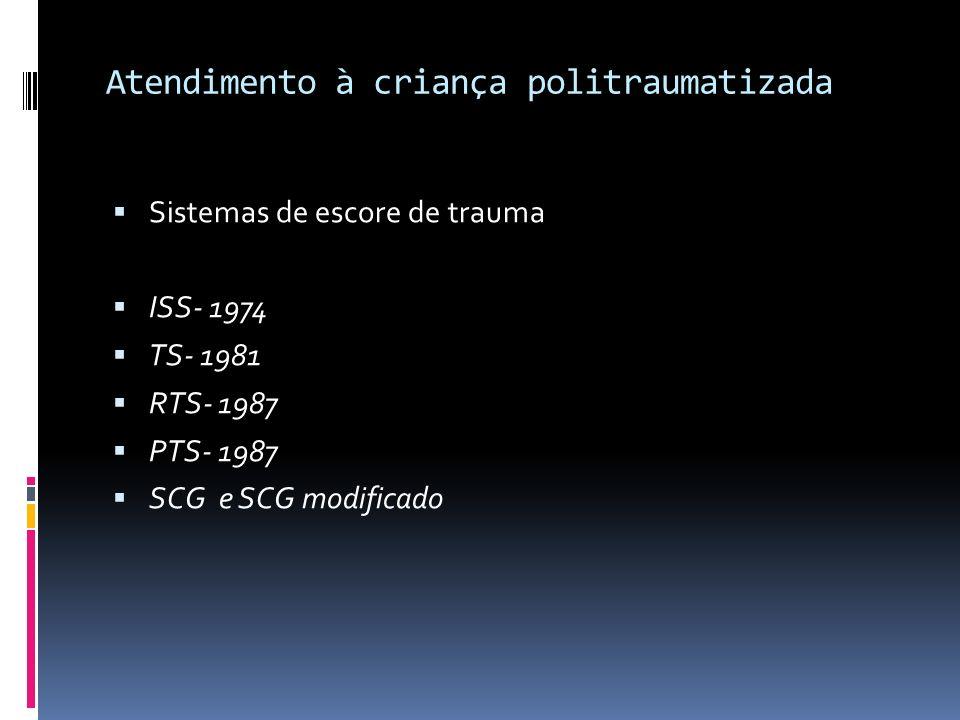 Atendimento à criança politraumatizada Sistemas de escore de trauma ISS- 1974 TS- 1981 RTS- 1987 PTS- 1987 SCG e SCG modificado