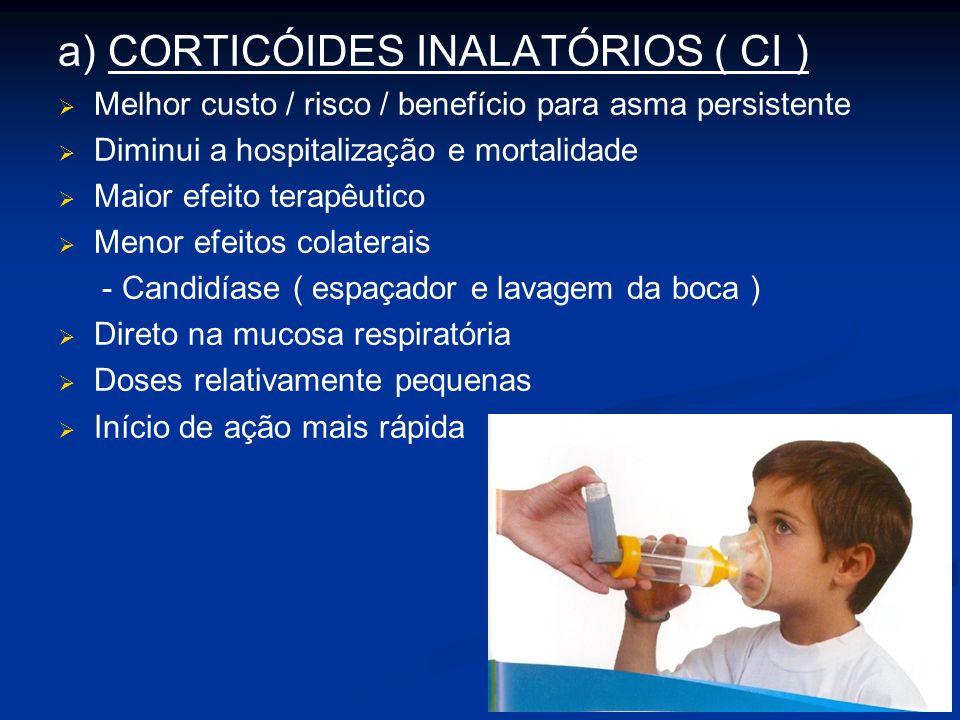 a) CORTICÓIDES INALATÓRIOS ( CI ) Melhor custo / risco / benefício para asma persistente Diminui a hospitalização e mortalidade Maior efeito terapêutico Menor efeitos colaterais - Candidíase ( espaçador e lavagem da boca ) Direto na mucosa respiratória Doses relativamente pequenas Início de ação mais rápida
