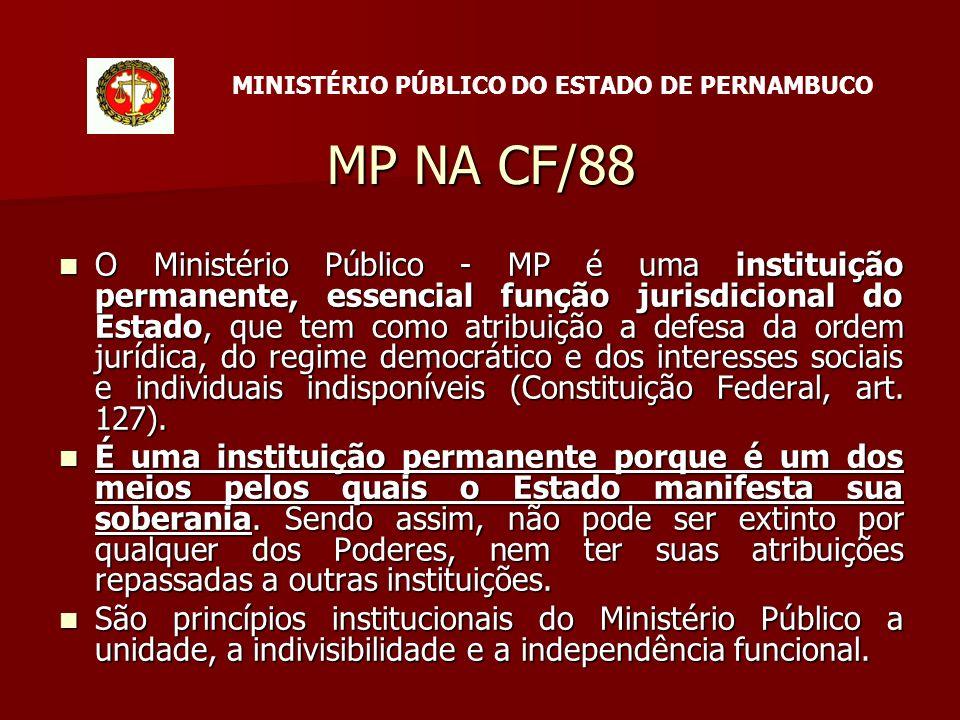 MP NA CF/88 O Ministério Público - MP é uma instituição permanente, essencial função jurisdicional do Estado, que tem como atribuição a defesa da ordem jurídica, do regime democrático e dos interesses sociais e individuais indisponíveis (Constituição Federal, art.