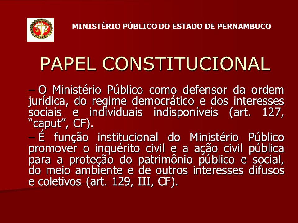 PAPEL CONSTITUCIONAL – O Ministério Público como defensor da ordem jurídica, do regime democrático e dos interesses sociais e individuais indisponíveis (art.