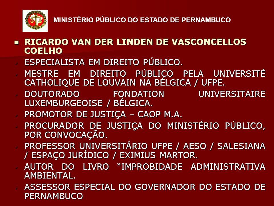 RICARDO VAN DER LINDEN DE VASCONCELLOS COELHO RICARDO VAN DER LINDEN DE VASCONCELLOS COELHO ESPECIALISTA EM DIREITO PÚBLICO.
