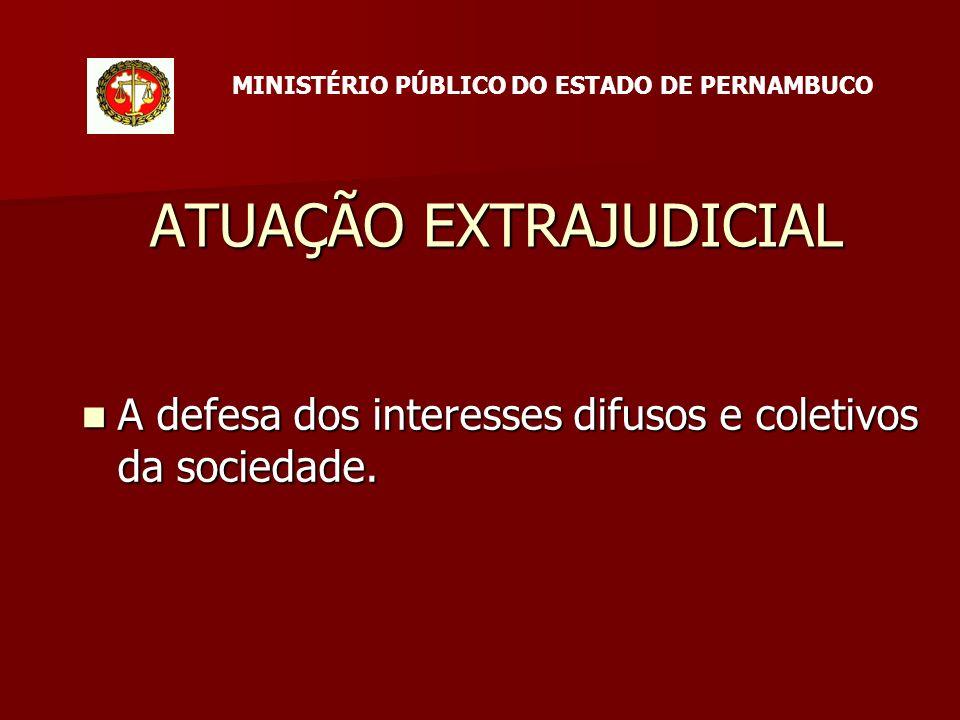 ATUAÇÃO EXTRAJUDICIAL A defesa dos interesses difusos e coletivos da sociedade.
